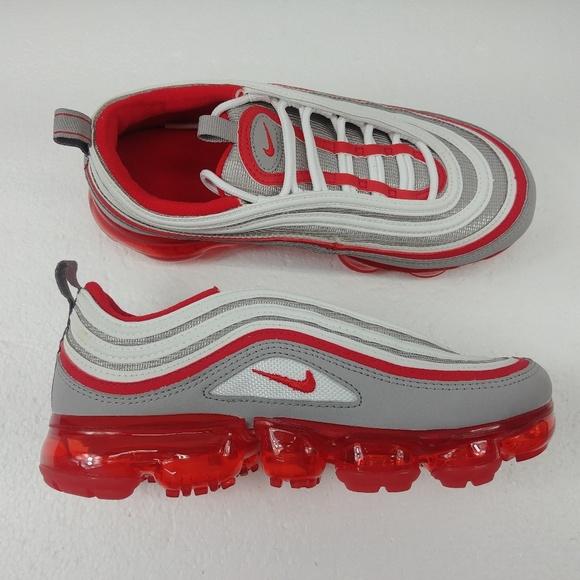 purchase cheap 11cd2 8b1cc Nike Air VaporMax 97 GS Gray Red White Shoes 6.5